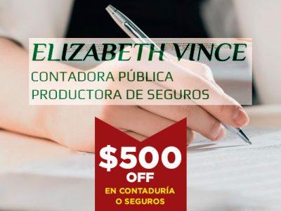 Elizabeth Vince · Contadora Publica · Productora de Seguros ·
